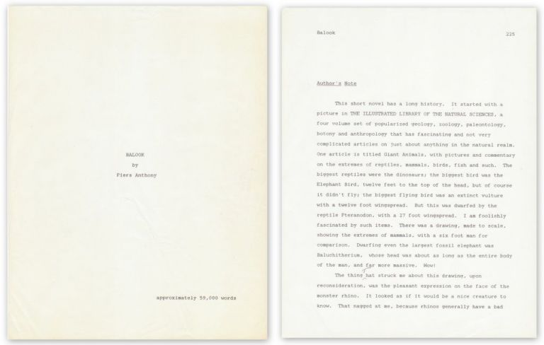 FINAL TYPESCRIPT FOR HIS NOVEL BALOOK by Piers ANTHONY on Brian Cassidy,  Bookseller