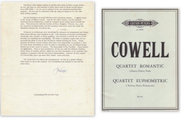 [Typescript Signed on Henry Cowell]. John CAGE.