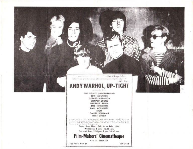 [Original Poster for Andy Warhol's Up-Tight, Feb. 8 - 13, 1966 at the Film-Makers' Cinematheque]. Andy WARHOL, The Velvet Underground.