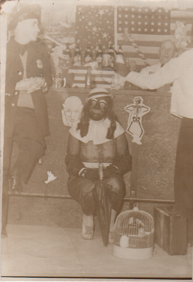 [Original B&W Image of Crossdressing Man in Blackface at a Bar]. Racism, Photography.
