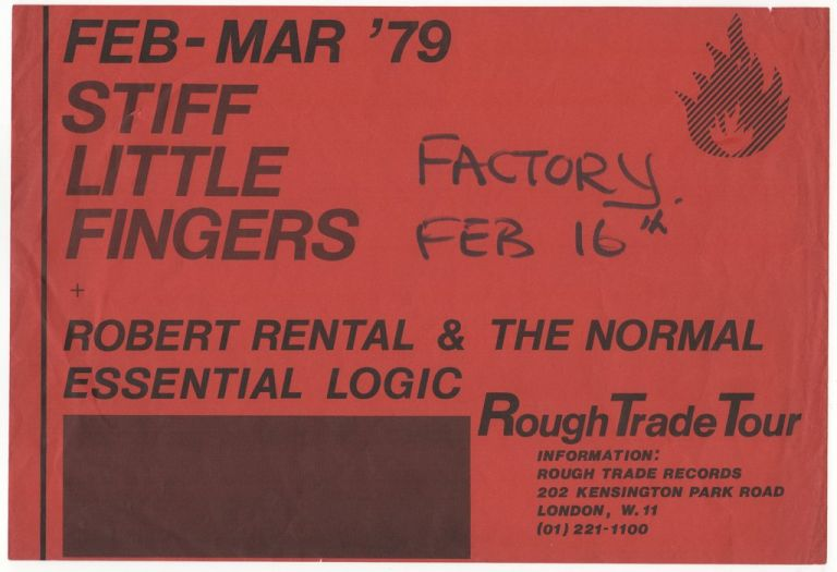 [Promotional Flyer for Stiff Little Fingers 1979 UK Tour]. Rough Trade, Still Little Fingers.