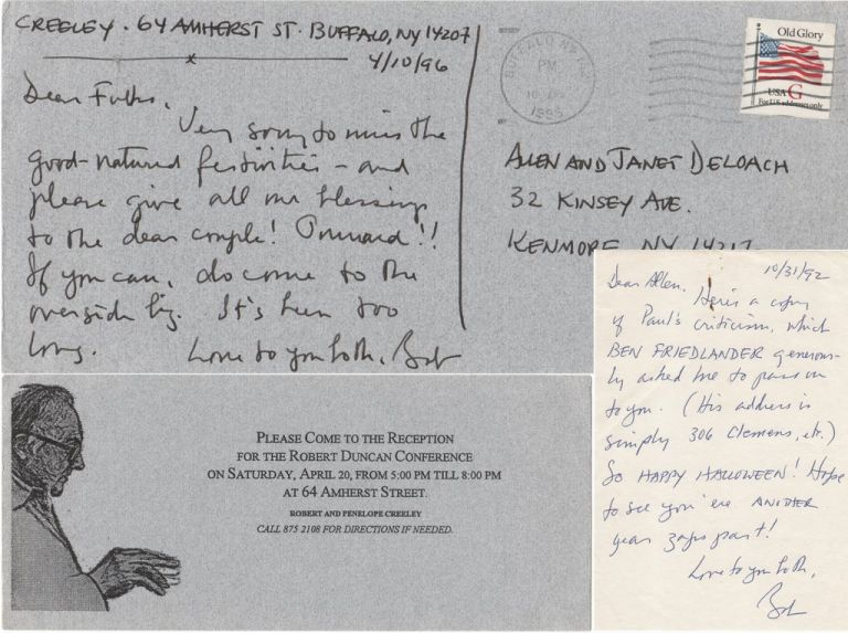 [Two Autograph Notes Signed to Allen De Loach With Related Ephemera]. Robert CREELEY.