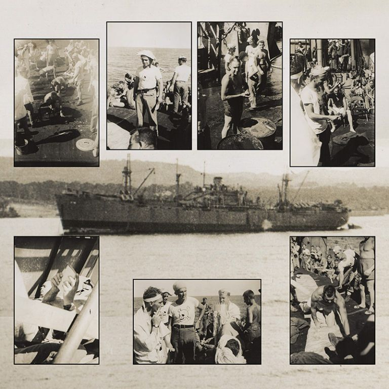 [Collection of 9 Neptune Crawl Photographs]. WWII, Navy.