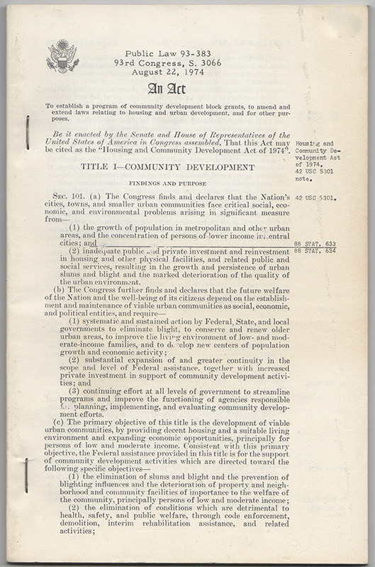 [Original Printed Summary of the Housing and Community Development Act of 1974]. United States Congress.