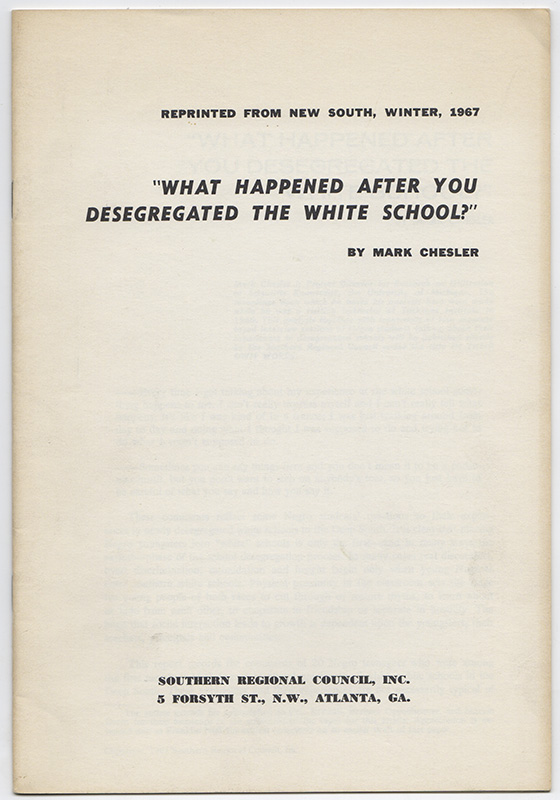 """WHAT HAPPENED AFTER YOU DESEGREGATED THE WHITE SCHOOL?"" Mark CHESLER."