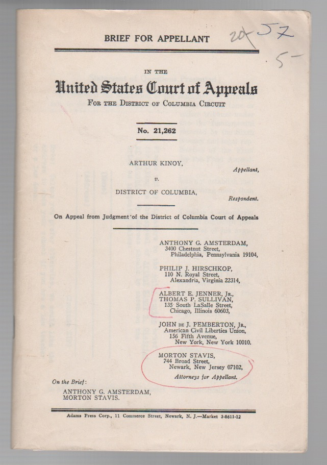[Brief for Appellant: Arthur Kinoy v. District of Columbia]. Anthony AMSTERDAM, Arthur Kinoy.