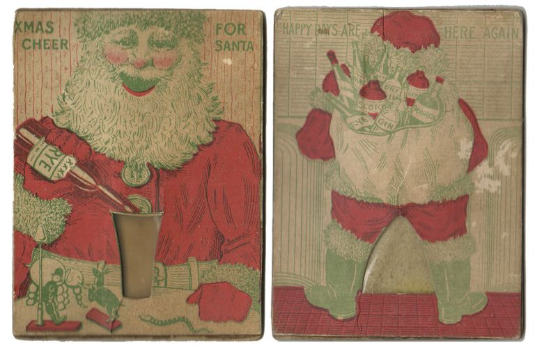 XMAS CHEER FOR SANTA [Movable Sand Card]. Scatology, Novelty Movable Card.