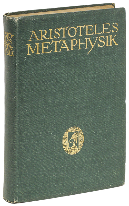 ARISTOTELES METAPHYSIK. Aristotle, Adolf Lasson.