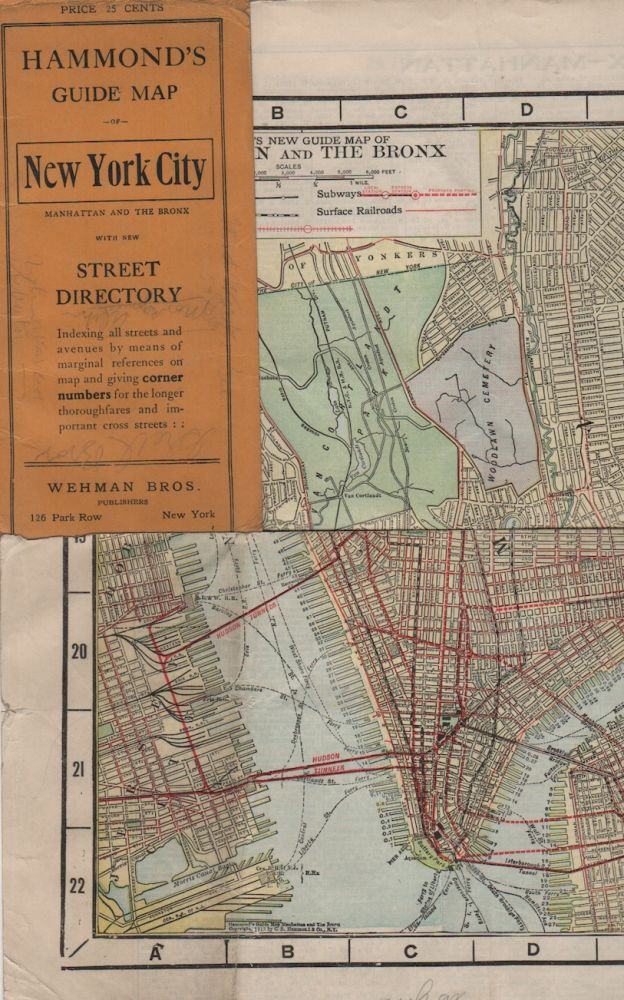 HAMMOND'S GUIDE MAP OF NEW YORK CITY: Manhattan and the Bronx. Maps, New York City.