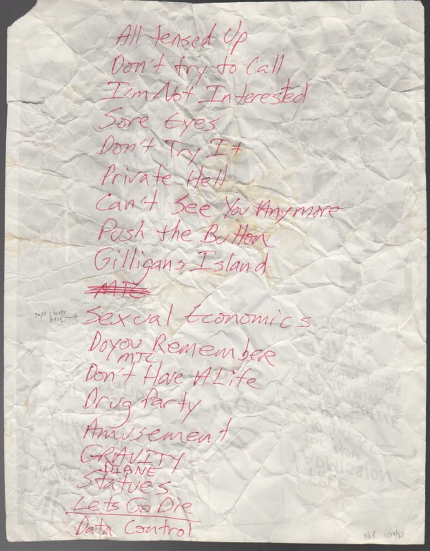 [Collection of Five Early Holograph Set-Lists and Flyers]. Husker Du.