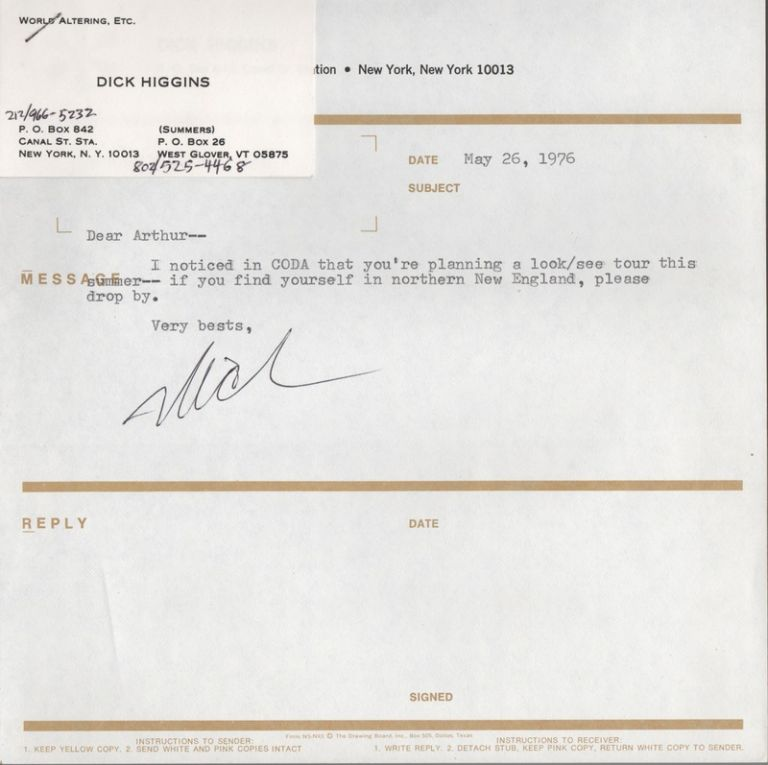[Small Collection of Correspondence between Dick Higgins and Arthur & Glee Knight, 1973-1976]. Dick Something Else Press. HIGGINS, Arthur, Glee KNIGHT.