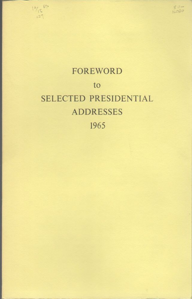 SELECTED PRESIDENTIAL ADDRESSES 1965. Lyndon Baines JOHNSON.