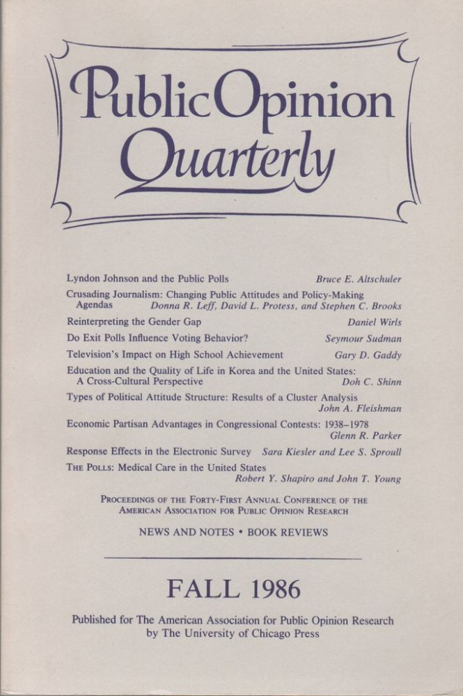PUBLIC OPINION QUARTERLY, Volume 50, Number 3. Fall 1986. Eleanor SINGER.
