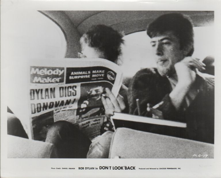 "[PRESS PHOTOGRAPH FROM THE FILM ""DON'T LOOK BACK]. BOB DYLAN, Daniel KRAMER, Photographer."