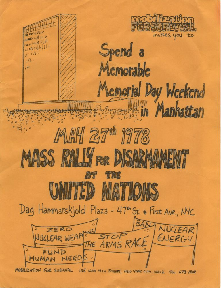[Flyer for a Mass Rally for Disarmament at the United Nations]. Anti-Nuclear, Mobilization for Survival.