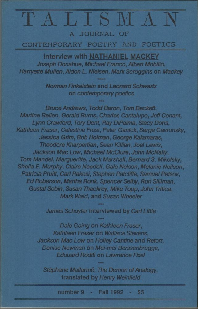 TALISMAN: A Journal of Contemporary Poetry and Poetics Number 9, Fall 1992. Edward FOSTER.