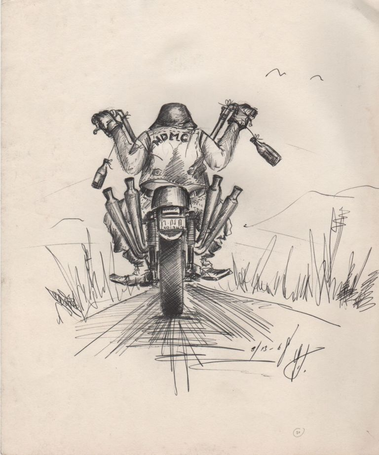 [Original Pen-and-Ink Drawing of Outlaw Biker]. Motorcycles.