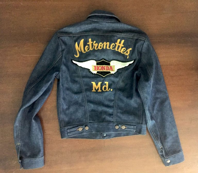 [Original 1970s Woman's Biker Club Denim Jacket]. Motorcycles, Fashion.