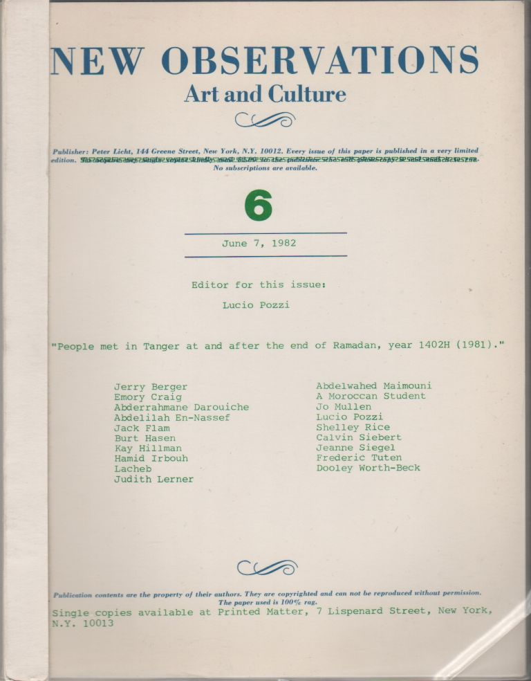NEW OBSERVATIONS: Art and Culture #6 - June 7, 1982. Peter LICHT, Lucio Pozzi, publisher, guest.