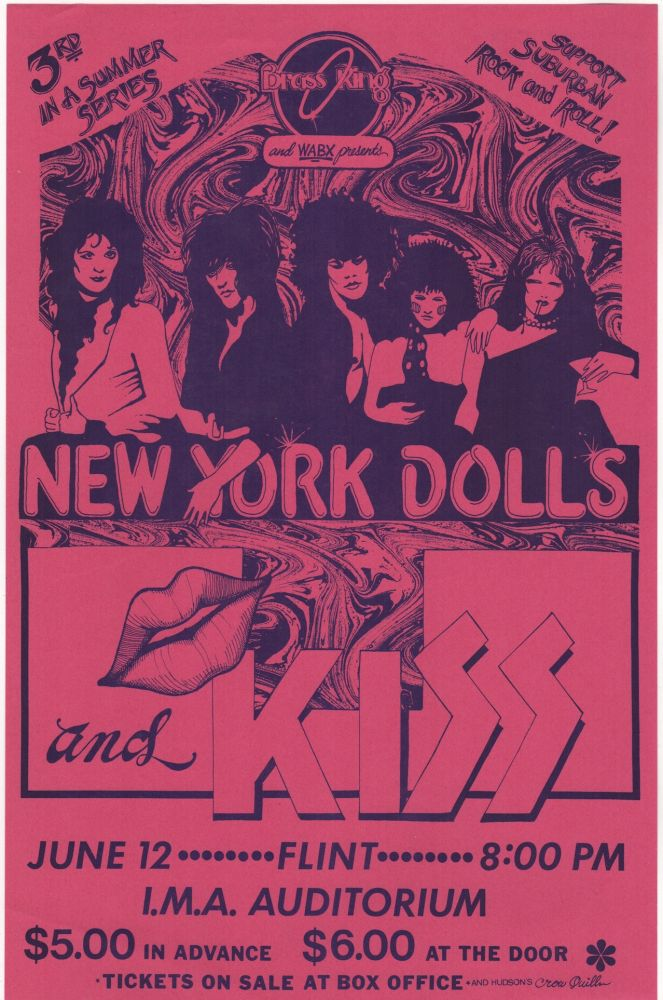 [Original Poster for a 1974 New York Dolls & Kiss Concert at the I.M.A Auditorium in Flint, MI]. Music, Rock, New York Dolls, KISS.