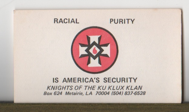 [Louisiana Knights of the Ku Klux Klan Card]. Knights of the Ku Klux Klan, Louisiana.