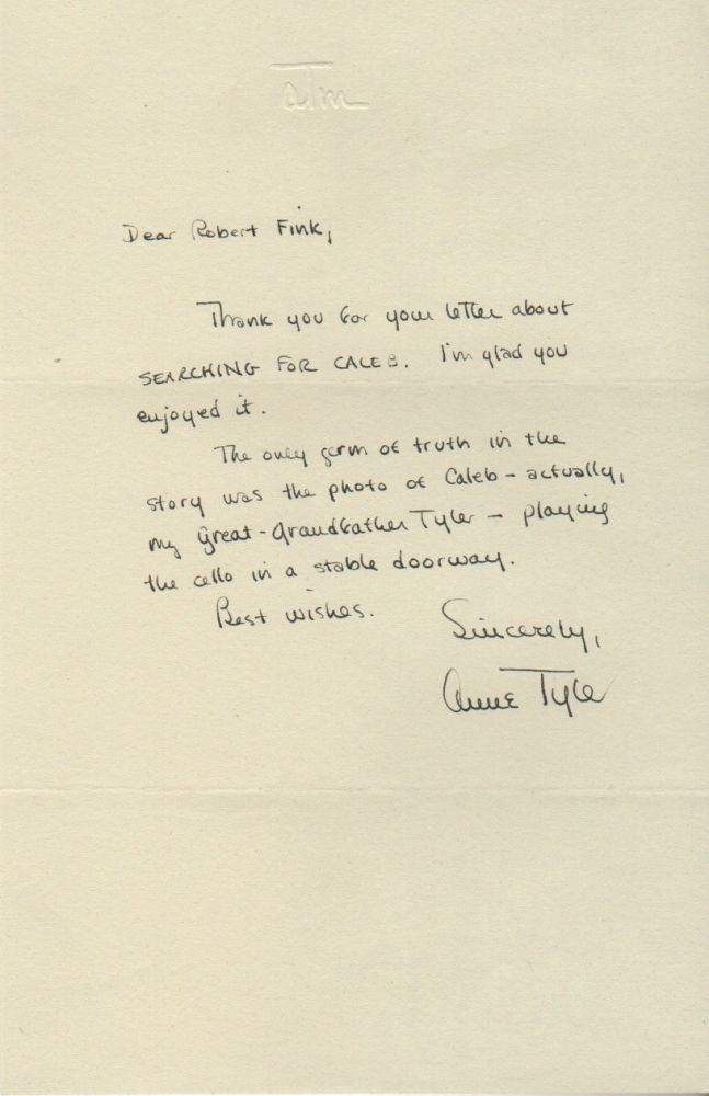 [Autographed Note Signed Sent to a Fan]. Anne TYLER.