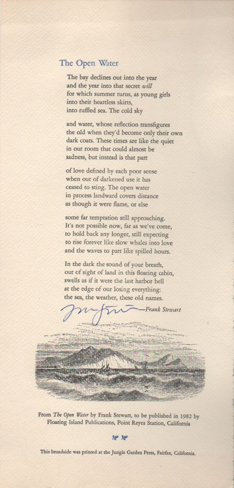 THE OPEN WATER [Broadside]. Frank STEWART.