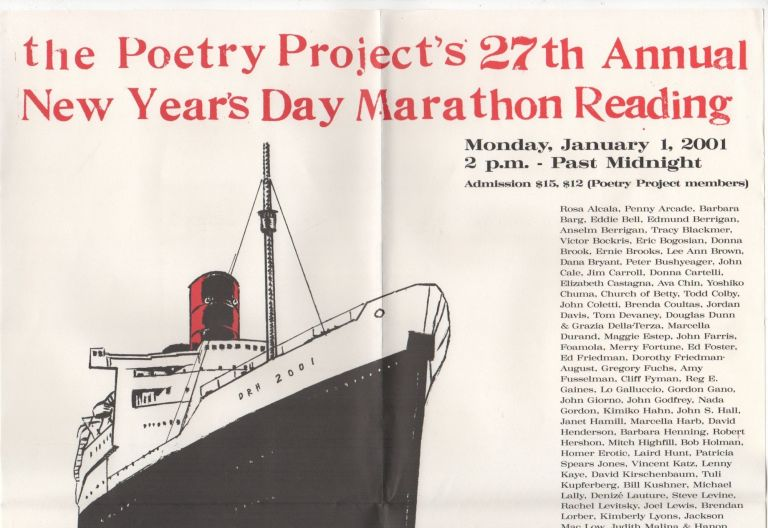 THE POETRY PROJECT'S 27TH ANNUAL NEW YEAR'S DAY MARATHON READING [Promo Poster]. The Poetry Project, Duncan Hannah, Art.