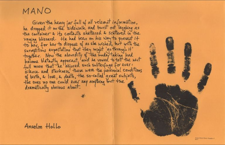 MANO [Stone Press Poster Number 8]. Anselm HOLLO.