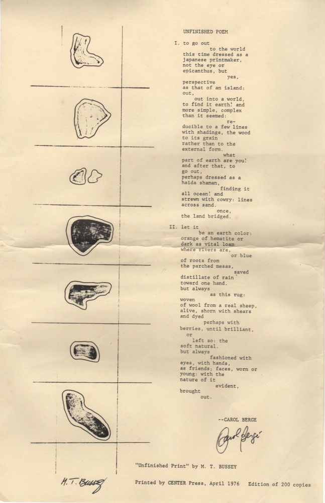 UNFINISHED POEM [Broadside]. Carol BERGE, M T. Bussey.