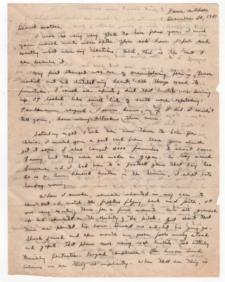 [Eyewitness Account to Pearl Harbor Day Attack - Autograph Letter Signed with Related Materials]. World War II, Gerald M. . WATKINS, Pearl Harbor.