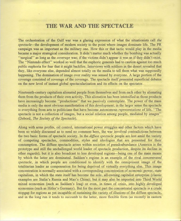 THE WAR AND THE SPECTACLE. Ken KNABB, Bureau of Public Secrets.