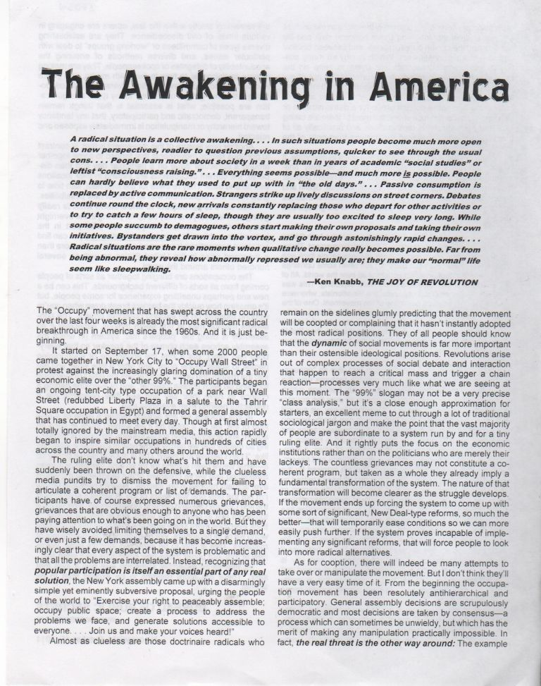 THE AWAKENING IN AMERICA. Ken KNABB, Bureau of Public Secrets.