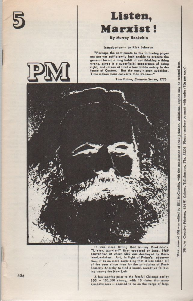 PM - No. 5 - Listen, Marxist! Murray BOOKCHIN, Bill McCauslin Bob Broedel, Publishers.