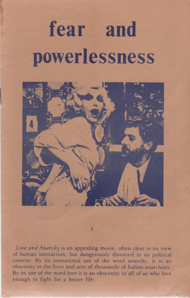 FEAR AND POWERLESSNESS. Anarchism, San Francisco Anarchists?