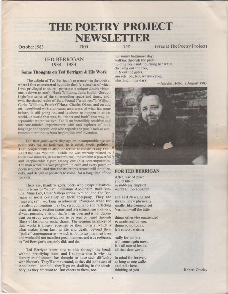 THE POETRY PROJECT NEWSLETTER - No. 100 - October 1983. Poetry Project, . Lorna Smedman, Ted BERRIGAN.