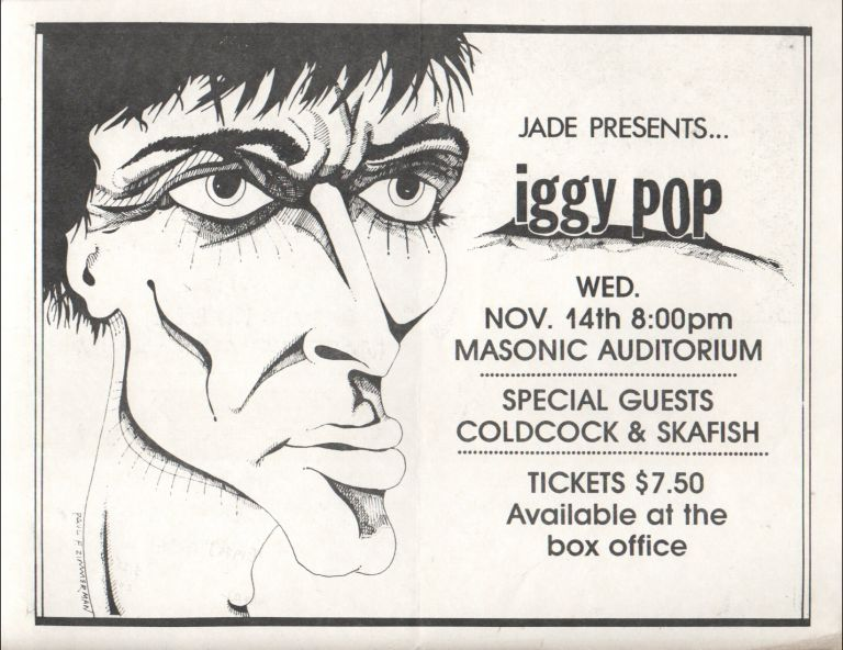 JADE PRESENTS ... IGGY POP [Concert Flyer]. Iggy POP.
