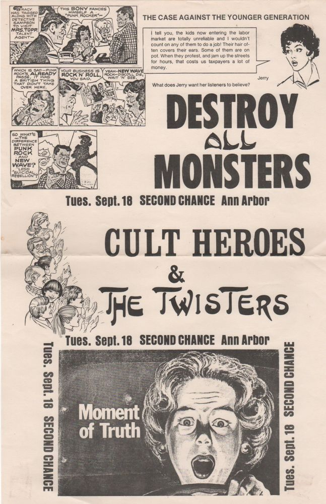 DESTROY ALL MONSTERS [,] CULT HEROES & THE TWISTERS [Concert Poster]. Punk, Destroy All Monsters.