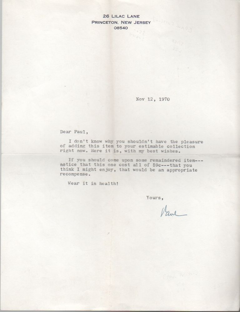 [Typed Letter Signed]. Paul FUSSELL.