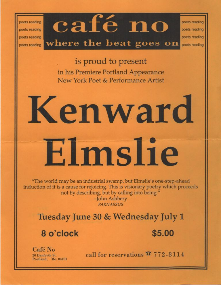 [Xeroxed Flyer for a Reading by Kenward Elmslie]. Kenward ELMSLIE.