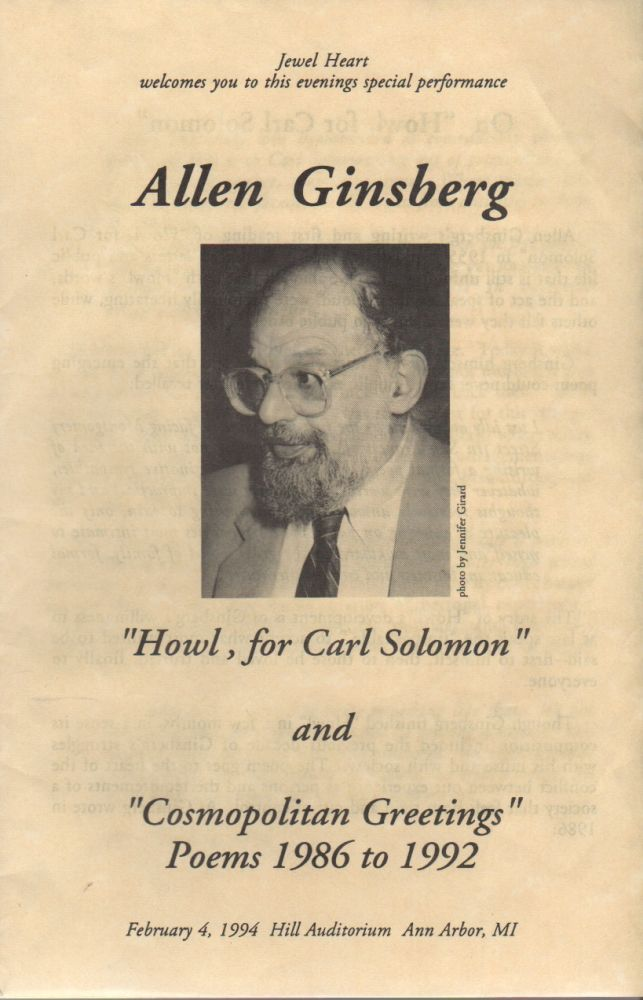 [Program for a 1994 Reading]. Allen GINSBERG.