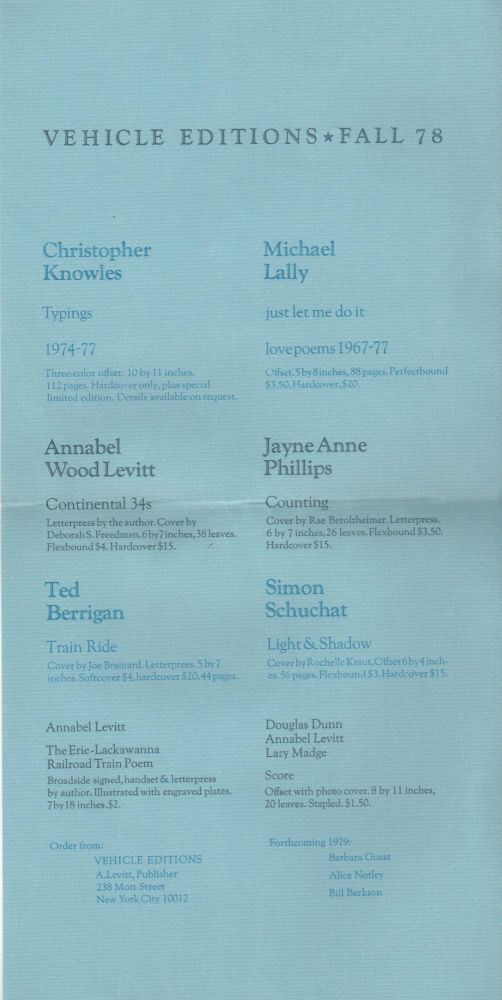 VEHICLE EDITIONS FALL 78 [Publisher's Promotional Broadside]. Annabel LEVITT, Publisher.
