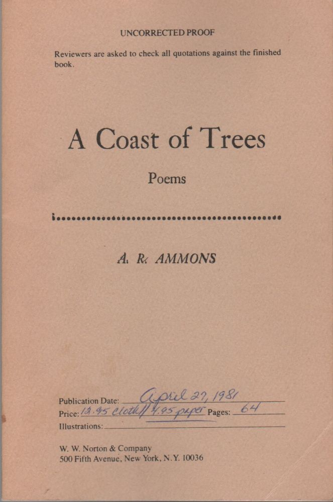 A COAST OF TREES: Poems. A. R. AMMONS.