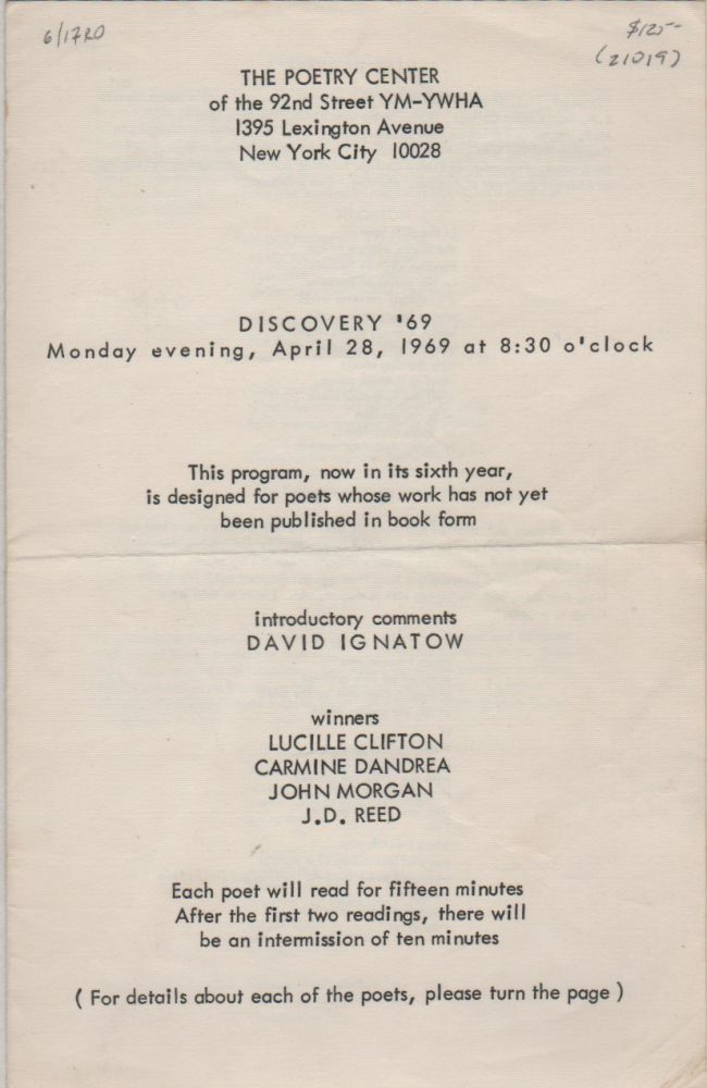 DISCOVERY '69 [Program for Reading/Event - Monday April 28, 1969 for The Poetry Center at the 92nd St. YMCA]. Lucille CLIFTON.