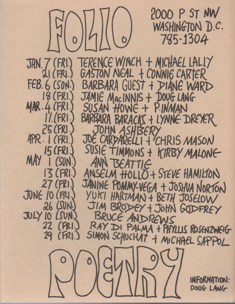 FOLIO POETRY [Flyer Schedule for Seven Months of Readings at Folio Books]. Doug LANG.