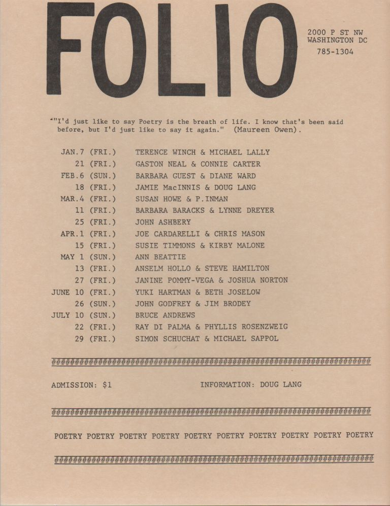 [Flyer Schedule for Seven Months of Readings at Folio Books, D.C.]. Doug LANG.