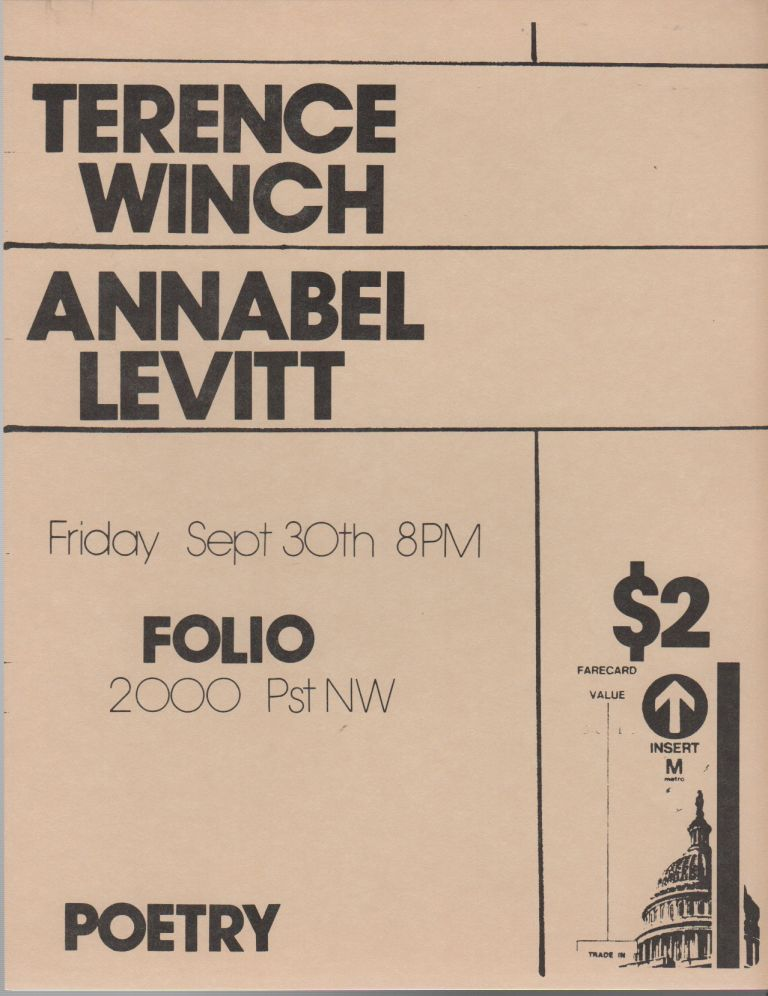 [Flyer for a Reading by Terence Winch and Annabel Levitt at Folio Books, D.C.]. Terence WINCH, Annabel Levitt.