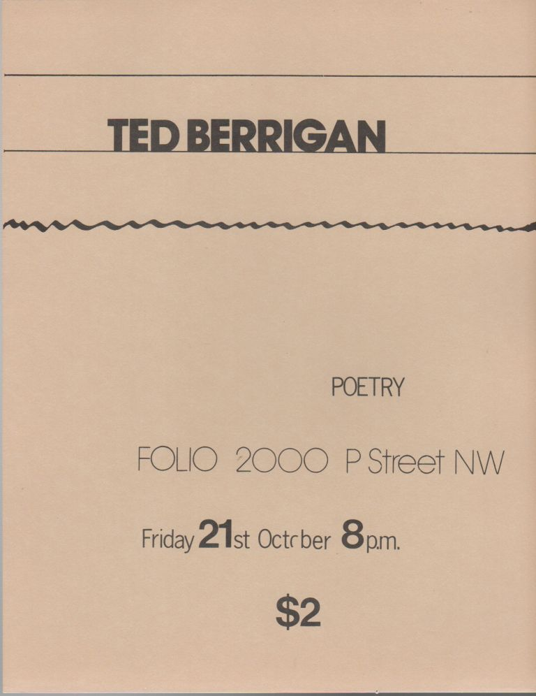 [Flyer for a Reading by Ted Berrigan at Folio Books, D.C.]. Ted BERRIGAN.