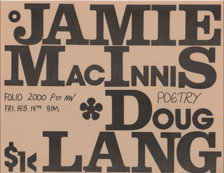 [Flyer for a Reading by Doug Lang and Jamie MacInnis at Folio Books, D.C.]. Doug LANG, Jamie MacInnis.