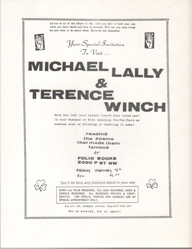 YOUR SPECIAL INVITATION TO VISIT... [Flyer for a Reading by Michael Lally and Terence Winch at Folio Books, D.C.]. Michael LALLY, Terence Winch.